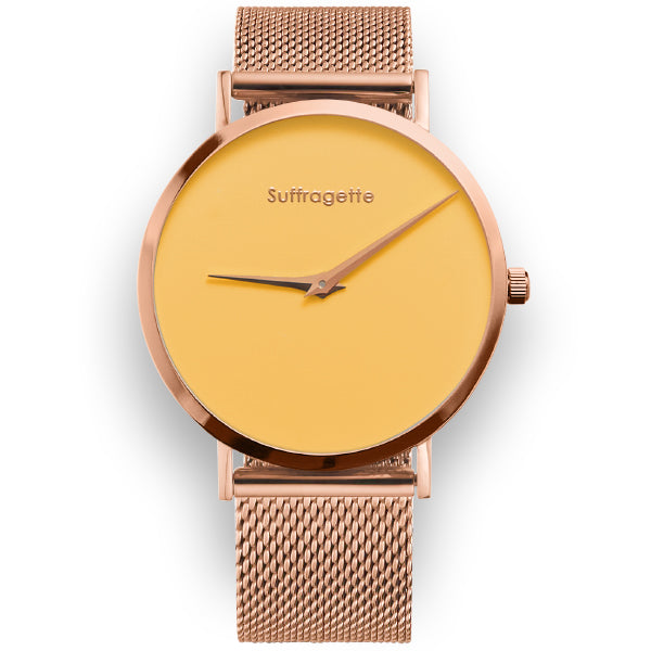 Womens Yellow Watch - Suffragette - Rose Gold Band