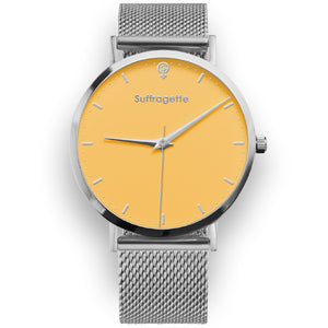 Womens Yellow Watch - Silver - Suffragette Kahlo