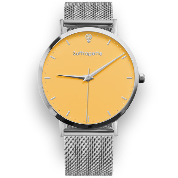 Womens Yellow Watch - Silver - Suffragette Kahlo - On wrist