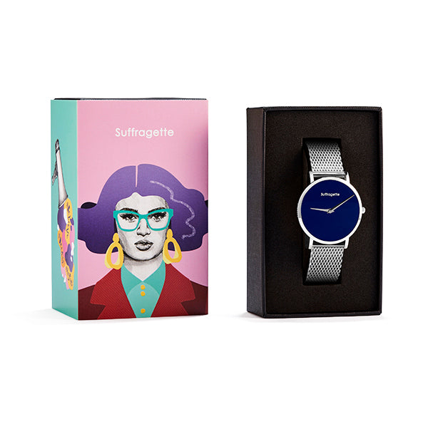 Womens Blue Watch - Silver - Suffragette Pankhurst - in box