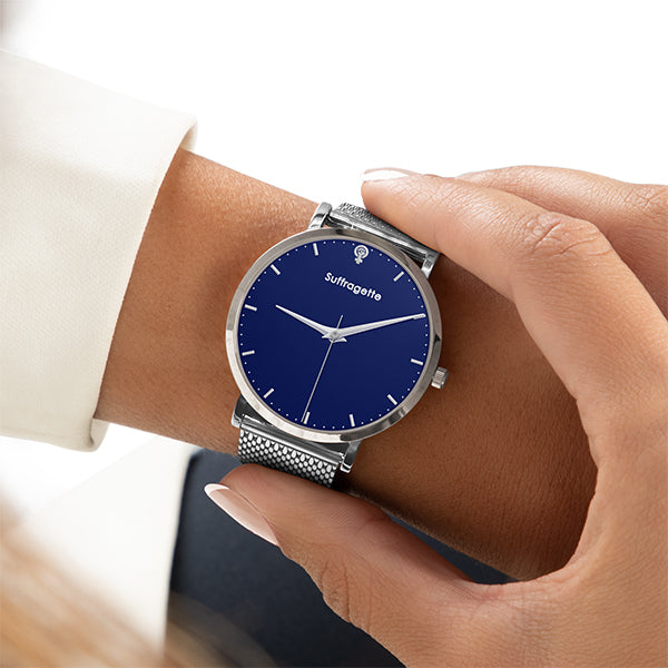 Womens Blue Watch - Silver - Suffragette Kahlo - On wrist