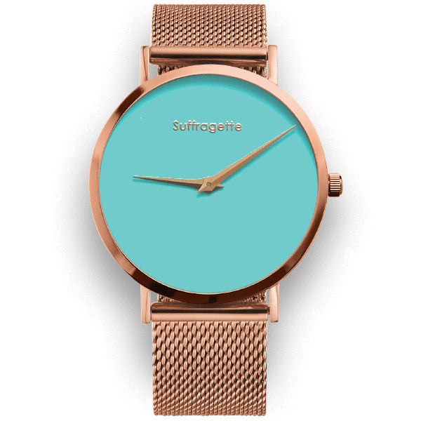 Womens Turquoise Watch - Rose Gold - Suffragette Pankhurst