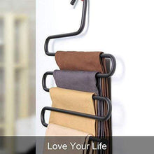 Load image into Gallery viewer, Purchase ds pants hanger multi layer s style jeans trouser hanger closet organize storage stainless steel rack space saver for tie scarf shock jeans towel clothes 4 pack