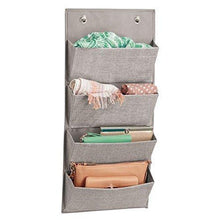 Load image into Gallery viewer, Buy now idesign interdesign wall mount over door fabric closet storage clutch purses handbags scarves linen aldo hanging 4 pocket organizer