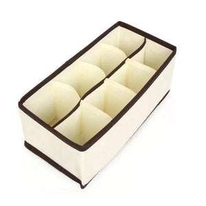 Buy now yds 4 pcs collapsible beige fabric storage boxes foldable drawer dresser closet dividers organizer for underwear bra socks lingerie clothing cosmetic