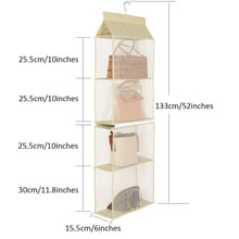 Load image into Gallery viewer, Budget friendly hanging purse handbag organizer handbag organizer for purses homewares nonwoven 4 pockets hanging closet storage bag holder wardrobe closet space saving organizers system for living room bedroom use