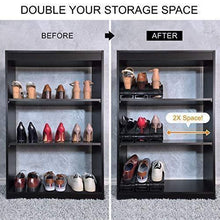 Load image into Gallery viewer, Purchase new upgraded adjustable shoes organizer best quality shoe slots closet storage space saver durable holds high heels to sneakers for men women and kid shoes 8 pack in black