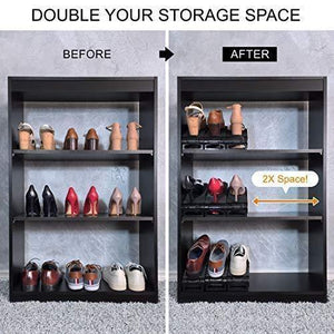 Purchase new upgraded adjustable shoes organizer best quality shoe slots closet storage space saver durable holds high heels to sneakers for men women and kid shoes 8 pack in black
