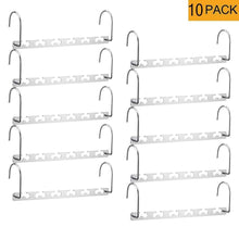Load image into Gallery viewer, Best seller  meetu space saving hangers wonder multifunctional clothes hangers stainless steel 6x2 slots magic hanger cascading hanger updated hook design closet organizer hanger pack of 10