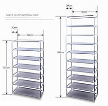 Load image into Gallery viewer, Get civilys 10 tier shoe tower rack with cover 27 pair space saving closet shoe storage boot organizer cabinet us stock black