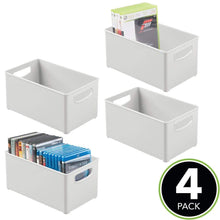 Load image into Gallery viewer, Try mdesign plastic stackable home storage organizer container bin box with handles for media consoles closets cabinets holds dvds blu ray video games gaming accessories 4 pack light gray