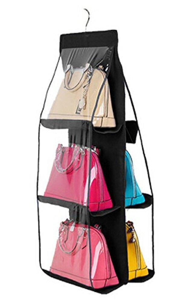 Top 6 pockets hanging closet organizer clear easy accees anti dust cover handbag purse holder storage bag collection shoes clothes space saver bag with a hanging hook black