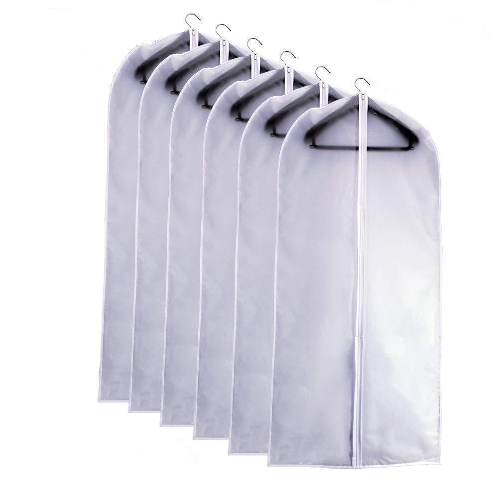 Get eanxo garment bag for storage 60 inch lightweight clear white peva breathable winter coats bags set of 6 with study full zipper for long dress clothes storage closet