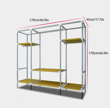 Load image into Gallery viewer, Top yanfaming closet organizer wardrobe closet portable closet shelves steel pipe thickened reinforced blackout cloth fabric storage assembly wardrobe b_66 9 x 66 9 x 17 7in