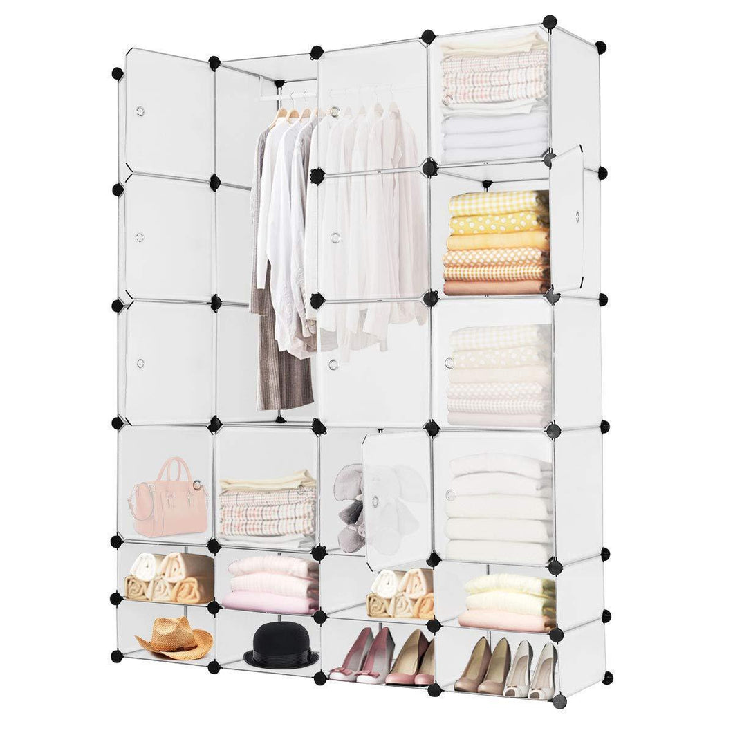 Related tangkula portable clothes closet wardrobe bedroom armoire diy storage organizer closet with doors 16 cubes and 8 shoe racks