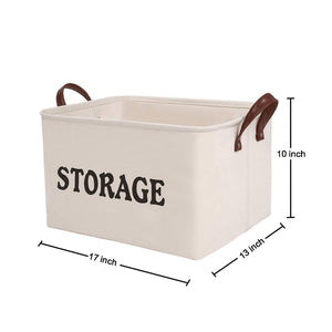 Discover shinytime storage baskets bins large organizer toy laundry storage basket for kids pets home living room closet beige 2pcs