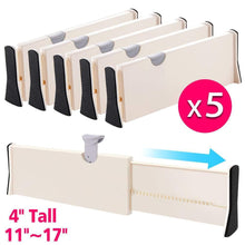 Load image into Gallery viewer, Buy now drawer dividers organizer 5 pack adjustable separators 4 high expandable from 11 17 for bedroom bathroom closet clothing office kitchen storage strong secure hold foam ends locks in place