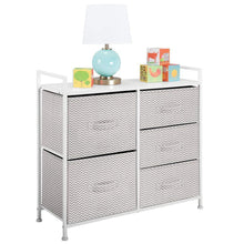 Load image into Gallery viewer, The best mdesign wide dresser storage tower sturdy steel frame wood top easy pull fabric bins organizer unit for bedroom hallway entryway closets chevron print 5 drawers taupe white