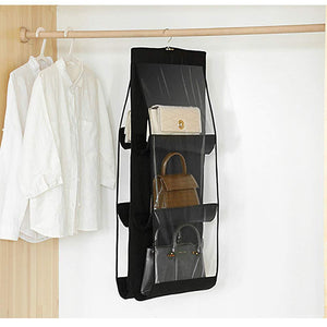 Best luck dawn hanging handbag purse organizer transparent dust proof wardrobe closet storage bag for clutch with 6 larger pockets black