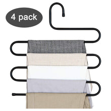 Load image into Gallery viewer, Budget friendly ds pants hanger multi layer s style jeans trouser hanger closet organize storage stainless steel rack space saver for tie scarf shock jeans towel clothes 4 pack 1