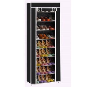 Exclusive civilys 10 tier shoe tower rack with cover 27 pair space saving closet shoe storage boot organizer cabinet us stock black