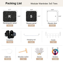 Load image into Gallery viewer, Discover the yozo closet organizer portable wardrobe cloth storage bedroom armoire cube shelving unit dresser cabinet diy furniture black 25 cubes