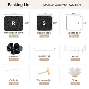 Save yozo modular wardrobe clothes closet plastic dresser multi use portable cube storage organizer bedroom armoire 25 cubes depth 18 inches black