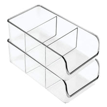 Load image into Gallery viewer, Discover the mdesign divided plastic home office desk drawer organizer storage bin for cabinets closets drawers desktops tables workspaces holds pens pencils erasers markers 3 sections 4 pack clear