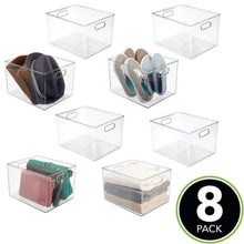 Load image into Gallery viewer, On amazon mdesign plastic home storage basket bin with handles for organizing closets shelves and cabinets in bedrooms bathrooms entryways and hallways store sweaters purses 8 high 8 pack clear