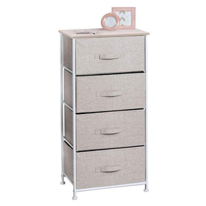 Best mdesign vertical dresser storage tower sturdy steel frame wood top easy pull fabric bins organizer unit for bedroom hallway entryway closets textured print 4 drawers linen natural