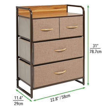Load image into Gallery viewer, Related mdesign dresser storage chest sturdy metal frame wood top easy pull fabric bins organizer unit for bedroom hallway entryway closet textured print 4 drawers coffee espresso brown