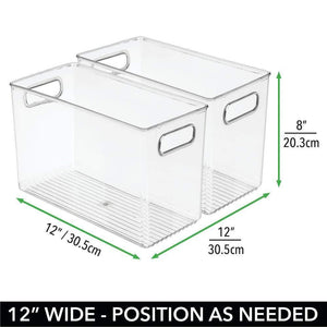 Purchase mdesign deep plastic home storage organizer bin for cube furniture shelving in office entryway closet cabinet bedroom laundry room nursery kids toy room 12 x 6 x 7 75 8 pack clear
