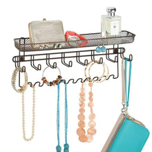 Load image into Gallery viewer, Kitchen mdesign decorative metal closet wall mount jewelry accessory organizer for storage of necklaces bracelets rings earrings sunglasses wallets 8 large 11 small hooks 1 basket bronze