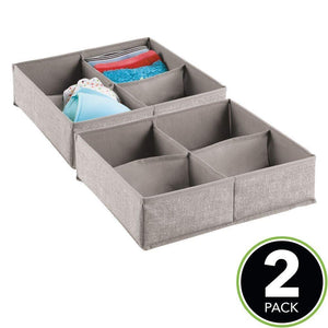 Exclusive mdesign soft fabric dresser drawer and closet storage organizer bin for lingerie bras socks leggings clothes purses scarves divided 4 section tray textured print 2 pack linen tan