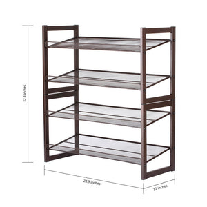 Featured rackaphile 4 tier stackable metal shoe rack mesh utility shoe storage organizer shelf for closet bedroom entryway 32 3 28 9 12 bronze