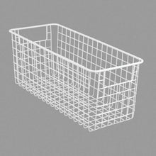 Load image into Gallery viewer, Explore mdesign farmhouse decor metal wire food storage organizer bin basket with handles for kitchen cabinets pantry bathroom laundry room closets garage 16 x 6 x 6 4 pack matte white