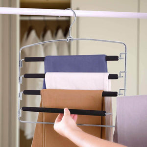 Selection homeideas pack of 4 non slip pants hangers stainless steel slack hangers space saving clothes hangers closet organizer with foam padded swing arm multi layers rotatable hook 1