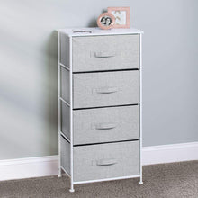 Load image into Gallery viewer, Budget mdesign vertical furniture storage tower sturdy steel frame wood top easy pull fabric bins organizer unit for bedroom hallway entryway closets textured print 4 drawers gray white