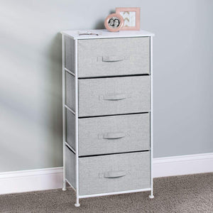 Budget mdesign vertical furniture storage tower sturdy steel frame wood top easy pull fabric bins organizer unit for bedroom hallway entryway closets textured print 4 drawers gray white