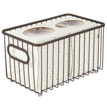 Load image into Gallery viewer, Discover the best mdesign metal bathroom storage organizer basket bin modern wire grid design for organization in cabinets shelves closets vanity countertops bedrooms under sinks 4 pack bronze