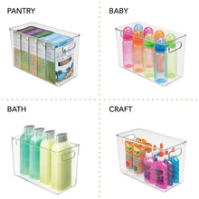 Load image into Gallery viewer, Products mdesign deep plastic home storage organizer bin for cube furniture shelving in office entryway closet cabinet bedroom laundry room nursery kids toy room 12 x 6 x 7 75 8 pack clear