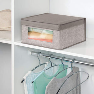 The best mdesign soft stackable fabric closet storage organizer holder bin with clear window attached hinged lid for bedroom hallway entryway bathroom textured print medium 6 pack linen tan