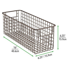 Load image into Gallery viewer, Save on mdesign farmhouse decor metal wire bathroom organizer storage bin basket for cabinets shelves countertops bedroom kitchen laundry room closet garage 16 x 6 x 6 in 6 pack bronze