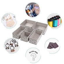 Load image into Gallery viewer, New foldable cloth storage box closet dresser drawer organizer cube basket bins containers divider with drawers for underwear bras socks ties scarves set of 6 light coffee with white lantern pattern
