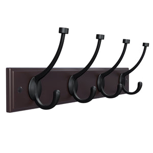 Save on songmics wooden wall mounted coat rack 16 inch rail with 4 metal hooks for entryway bathroom closet room dark brown ulhr20z