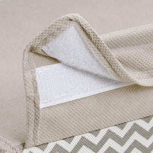Purchase mdesign soft fabric over closet shelving hanging storage organizer with removable drawer for closets in bedrooms hallway entryway mudroom chevron zig zag print with solid trim taupe natural