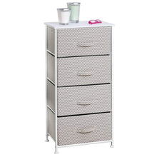 Load image into Gallery viewer, Save on mdesign vertical furniture storage tower sturdy steel frame wood top easy pull fabric bins organizer unit for bedroom hallway entryway closets chevron zig zag print 4 drawers taupe