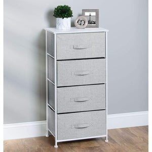 Best seller  mdesign vertical furniture storage tower sturdy steel frame wood top easy pull fabric bins organizer unit for bedroom hallway entryway closets textured print 4 drawers gray white