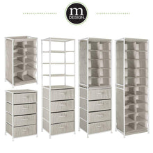 Load image into Gallery viewer, Results mdesign vertical dresser storage tower sturdy steel frame easy pull fabric bins organizer unit for bedroom hallway entryway closets textured print 4 drawers 4 shelves linen tan