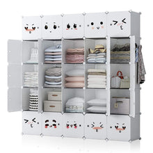 Load image into Gallery viewer, Save on george danis portable closet plastic dresser for kids teenagers modular wardrobe cube storage organizer book shelf toy cabinet white 14 inches depth 5x5 tiers
